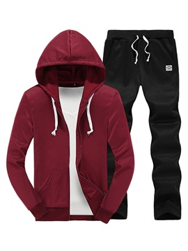 Zipper Hooded Cotton Blends Men's Casual Outfit