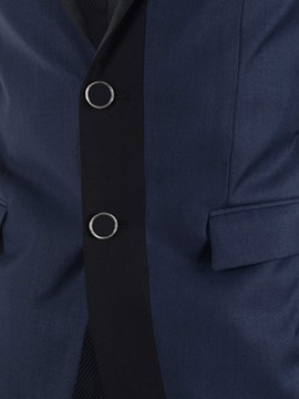Contrast Color Notched Collar Men's Double-Button Blazer