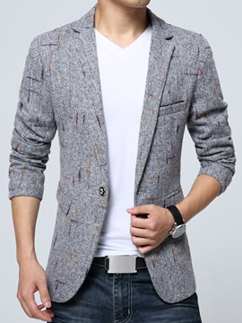 Lapel One Button Solid Color Slim Print Men's Blazer