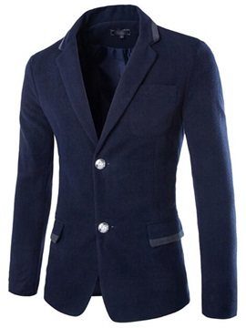Color Block Double-Button Men's Casual Blazer