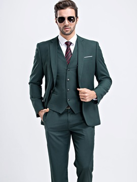 Solid Color Men's Dress Three-Piece Suit