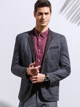 Notched Collar Double-Button Men's Casual Blazer