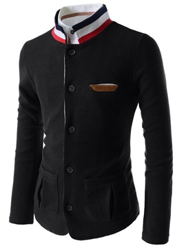 Stand Collar Single-Breasted Men's Chest Pocket Blazer
