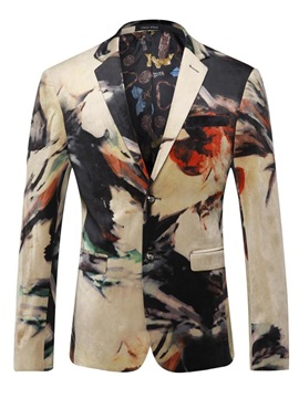 Lapel Color Block Print Slim Two Button Long Sleeve Men's Blazer
