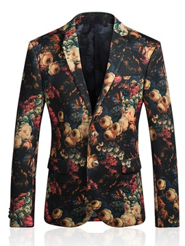 Floral Print Slim Casual Men's Blazer