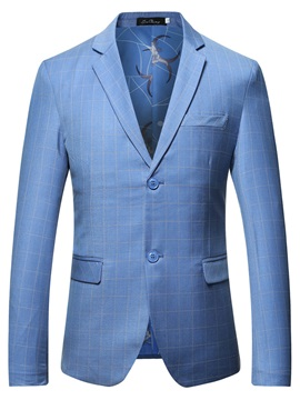 Plaid Notched Lapel Two Button Men' Fashion Blazer