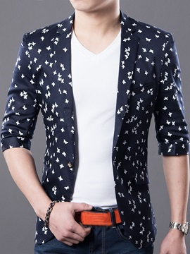 Notched Lapel Half Sleeve Men's Blazer
