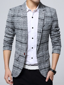Plaid Color Block One Button Men's Casual Blazer