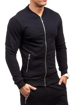 Sports Slim Solid CoLor Stand Collar Men's Outfits