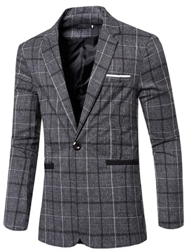 Lattice Deep V-Neck Long Sleeve Slim Men's Blazers
