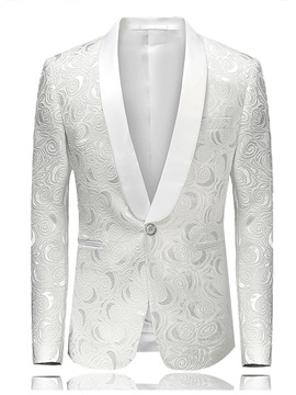 Tidebuy Notched Lapel One Button Men's White Blazer