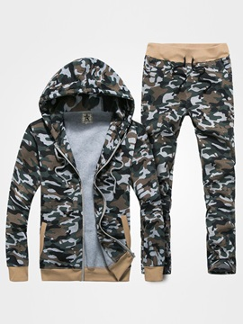 Camouflage Zipper Hooded Long Sleeve Men's Outfits