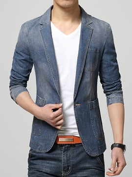 Lapel Deep V-Neck One Button Slim Men's Blazer
