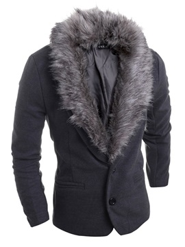 Two Button Detachable Fur Neck Solid Color Slim Men's Blazer