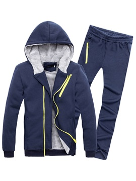 Hooded Diagonal Zipper Solid Color Warm Slim Men's Suits