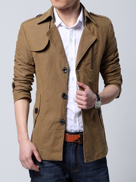 Lapel Single-Breasted Solid Color Medium Length Baggy Men's Overcoat