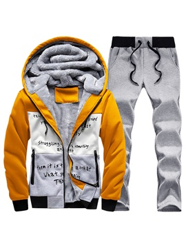 Hooded Patchwork Color Block Zipper Men's Sports Suit