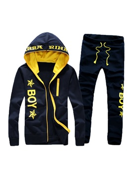 Hooded Color Block Long Pant Men's Tracksuit Outfit