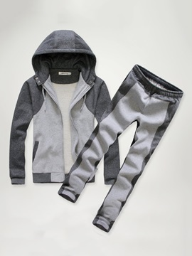 Color Block Hooded Two Piece Men's Tracksuit Outfit