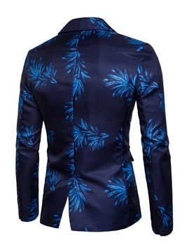 Notched Lapel Floral Print Color Block Men's Casual Blazer