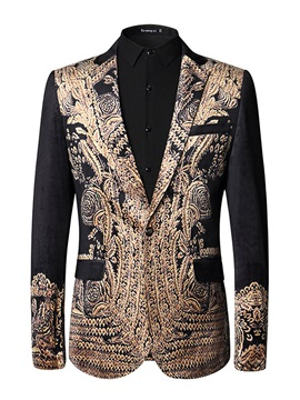 Notched Lapel Floral Print Color Block Vogue Men's Casual Blazer