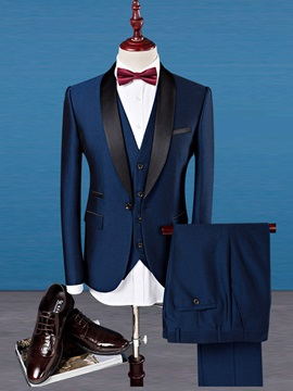 Lapel Slim Color Block Men's Three Piece Outfits