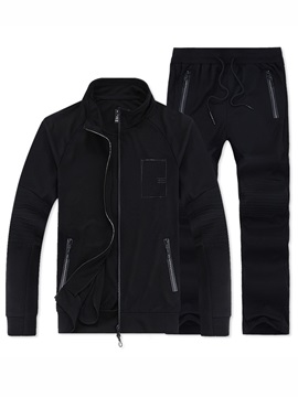 Tidebuy Stand Collar Zipper Solid Color Long Pant Men's Tracksuit Outfits