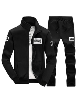 Stand Collar Jacket Pants Sports Men's Outfit