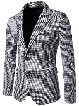 Tidebuy Notched Lapel Two Buttons Houndstooth Men's Blazer