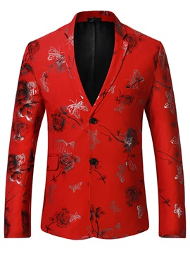 Straight Notched Lapel Print Color Block Men's leisure Suit