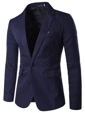 Notched Lapel One Button Men's Leisure Blazer
