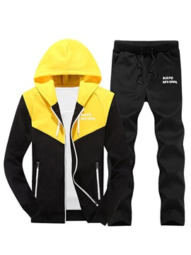 Hooded Color Block Patchwork Men's Sports Suit