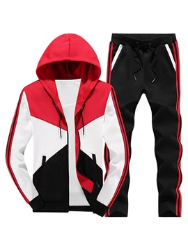 Tidebuy Color Block Patchwork Hooded Men's Sports Suit