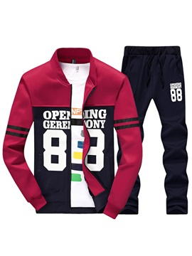 Tidebuy Patchwork Letter Print Men's Sports Suit