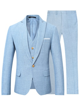 Tidebuy Light Blue Three Piece Men's Suit