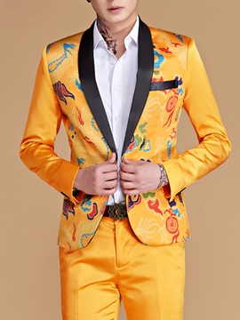 Floral Print One Button Slim Men's Dress Suit