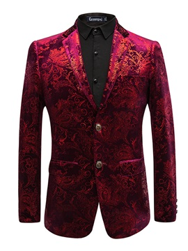 Tidebuy Lapel Fit Slim Print Men's Blazer