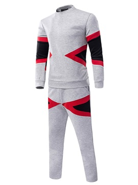 Tidebuy Round Neck Color Block Men's Tracksuit Outfits