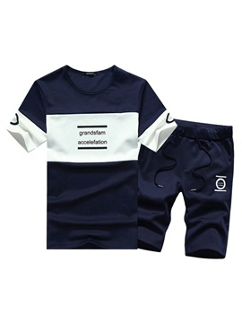 Tidebuy Letter Print 2 Pieces Men's Short Tracksuit Outfits