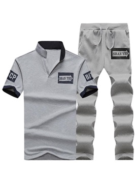 Tidebuy Short Sleeve Polo and Long Pants Men's Sports Suit