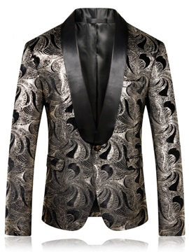 Tidebuy Notched Lapel Stylish Print Men's Blazer