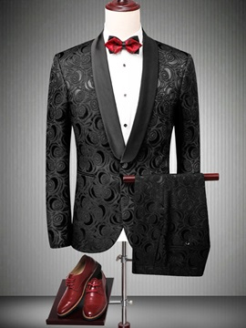Floral One Button Men's Black Wedding Suit