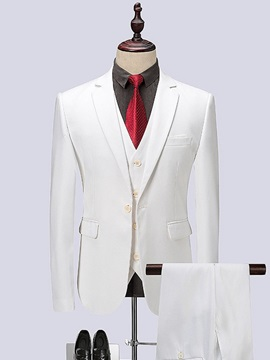 Tidebuy White Plain 3 Pieces Men's Wedding Suit