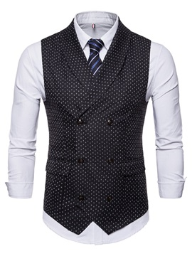 Tidebuy Polka Dots Vest and Dress Shirt Men's Casual Outfit