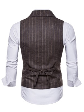 Tidebuy Vest and Shirt Stripe Men's Double-Breasted Outfit