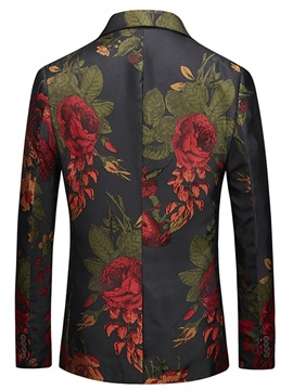 Floral One Button Notched Lapel Men's Blazer