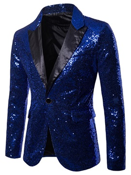 Sequins Notched Lapel One Button Men's Party Blazer
