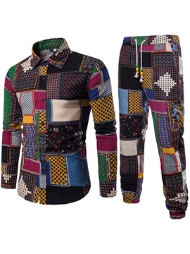 Color Block Ethnic Print Shirt Pants Men's Casual Outfit