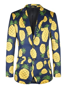 Pineapple Print Notched Lapel Two Buttons Men's Blazer