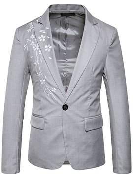 Floral Print One Button Slim Men's Blazer